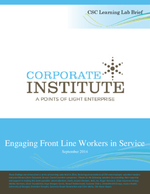 Engaging Front Line Workers in Service