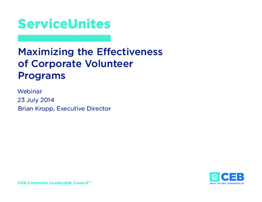 Maximizing the Effectiveness of Corporate Volunteer Programs