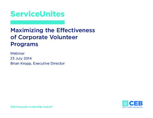 Maximizing the Effectiveness of Corporate Volunteer Programs