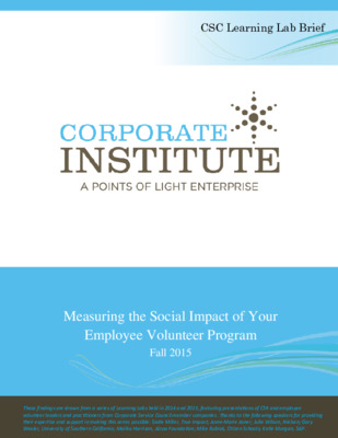 Measuring the Social Impact of Your Employee Volunteer Program