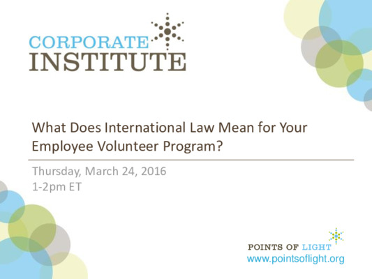 What Does International Law Mean for Your Employee Volunteer Program?