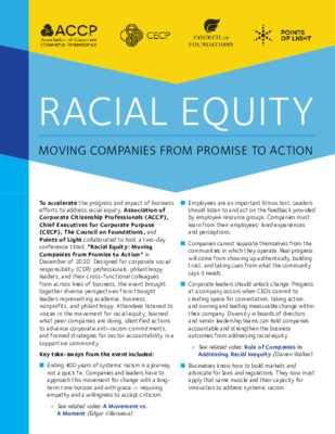 Racial Equity Conference Insights & Actions