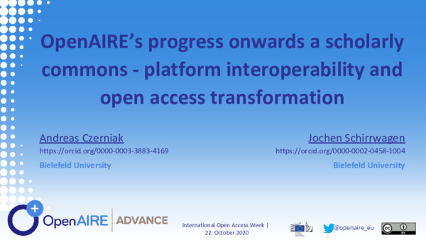 OpenAIRE: Towards a Scholarly Commons | Andreas Czerniak and Jochen Schirrwagen | OpenAIRE Open Access Week, October 22, 2020