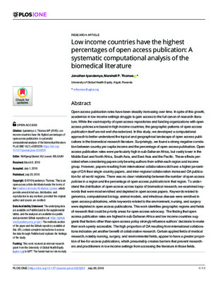 Low Income Countries Have the Highest Percentages of Open Access Publication: A Systematic Computational Analysis of the Biomedical Literature | Jonathan Iyandemye and Marshall P. Thomas | PLoS ONE 14(7), 2019