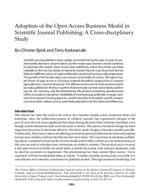 Adoption of the Open Access Business Model in Scientific Journal Publishing: A Cross-disciplinary Study | Bo-Christer Björk and Timo Korkeamäki | College Research and Libraries, 81(7), 2020