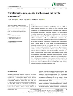 Transformative Agreements: Do They Pave the Way to Open Access? | Ángel Borrego , Lluís Anglada and Ernest Abadal | Learned Publishing, 12 November 2020