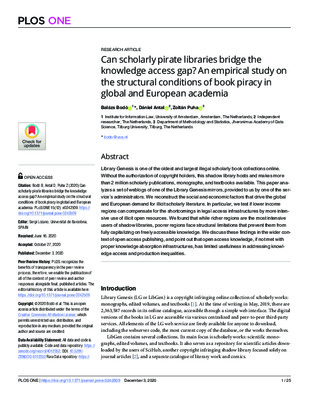 Can Scholarly Pirate Libraries Bridge the Knowledge Access Gap? | Balázs Bodó, Dániel Antal and Zoltán Puha | PLoS ONE 15(12), 2020