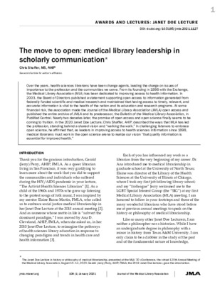 The Move to Open: Medical Library Leadership in Scholarly Communication | Chris Shaffer |  Journal of the Medical Library Association, 109 (1), January 2021
