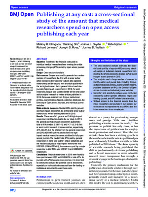 Publishing at Any Cost: A Cross-Sectional Study of the Amount that Medical Researchers Spend on Open Access Publishing Each Year | Mallory K. Ellingson et al. | BMJ Open, 2021