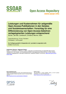 Leistungen und Kostenrahmen für zeitgemäße Open-Access-Publikationen in den Geistes- und Sozialwissenschaften | Jennifer Eichler, Christina Lembrecht and Karin Werner | ENABLE!-Community, 2021