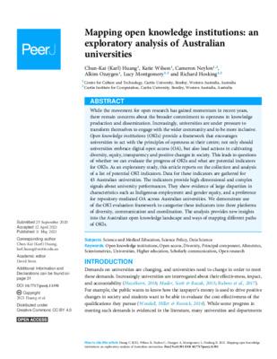 Mapping Open Knowledge Institutions: An Exploratory Analysis of Australian Universities | Chun-Kai (Karl) Huang et al. | PeerJ, 9, 2021