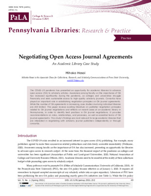 """Hosoi, Mihoko. """"Negotiating Open Access Journal Agreements: An Academic Library Case Study."""" Pennsylvania Libraries: Research & Practice, 9.1 (2021): 49-61."""