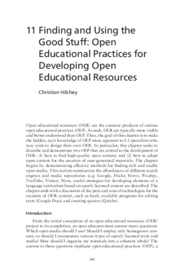 """Hilchey, Christian. """"Finding and Using the Good Stuff: Open Educational Practices for Developing Open Educational Resources."""" Open Education and Second Language Learning and Teaching. Multilingual Matters, 2021. 245-265."""