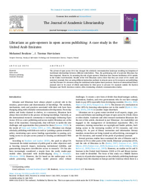 """Boufarss, Mohamed, and J. Tuomas Harviainen. """"Librarians as gate-openers in open access publishing: A case study in the United Arab Emirates."""" The Journal of Academic Librarianship 47.5 (2021)."""