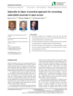 """Crow, Raym, Richard Gallagher, and Kamran Naim. """"Subscribe to Open: A practical approach for converting subscription journals to open access."""" Learned Publishing 33.2 (2020)."""