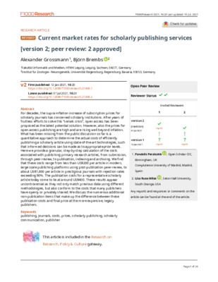 """Grossmann, Alexander, and Björn Brembs. """"Current market rates for scholarly publishing services."""" F1000Research 10.20 (2021): 20."""