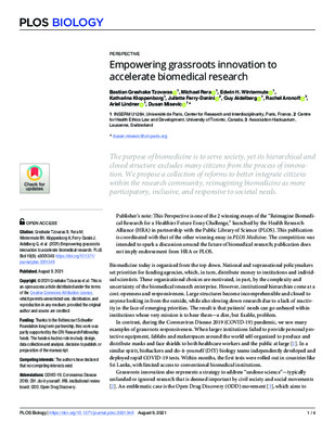 "Greshake Tzovaras B, Rera M, Wintermute EH, Kloppenborg K, Ferry-Danini J, et al. ""Empowering grassroots innovation to accelerate biomedical research."" PLOS Biology, 19(8). (2021)."
