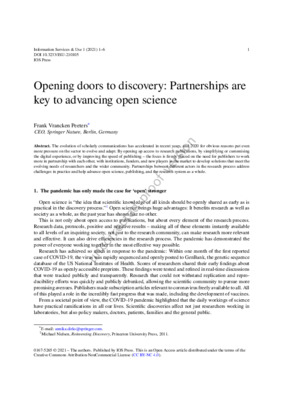"""Peeters, Frank Vrancken. """"Opening Doors to Discovery: Partnerships Are Key to Advancing Open Science"""". 1 Jan. 2021 : 1-6."""