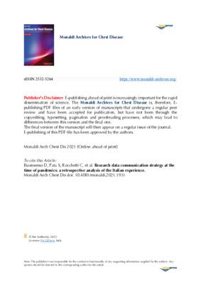 "Buonsenso, Danilo, Pata, Davide, Rocchetti, Chiara, et al. ""Research data communication strategy at the time of pandemics: a retrospective analysis of the Italian experience."" Monaldi Arch Chest Dis. (2021)."
