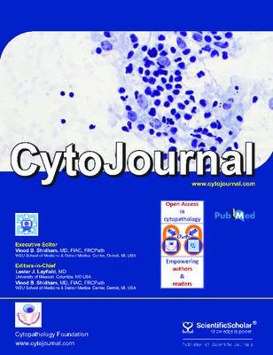 "Kolpekwar, Janavi A., and Vinod B. Shidham. ""Impact of cytopathology authors work: Comparative analysis based on Open-access cytopathology publications versus non-Open-access conventional publications."" CytoJournal, 18, (2021)."