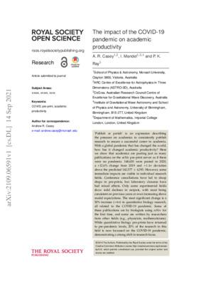 "Casey, Andrew R., Ilya Mandel, and Prasun K. Ray. ""The impact of the COVID-19 pandemic on academic productivity."" arXiv preprint, (2021)."