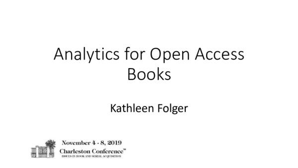 Analytics for Open Access Books | Kathleen Folger | November, 2019