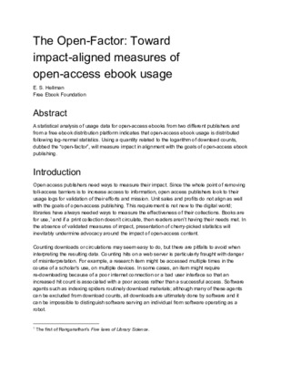The Open-Factor: Toward impact-aligned measures of open-access ebook usage | Eric S. Hellman | 2019