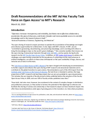 Draft Recommendations of the MIT Ad Hoc Faculty Task Force on Open Access to MIT's Research | MIT | March 16, 2019