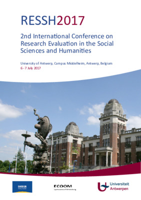 2nd International Conference on  Research Evaluation in the Social  Sciences and Humanities | University of Antwerp, Campus Middelheim, Antwerp, Belgium | 6 - 7 July 2017