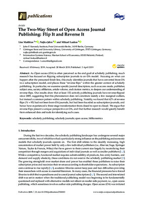 The Two-Way Street of Open Access Journal Publishing: Flip It and Reverse It | Lisa Matthias, Najko Jahn and Mikael Laakso | Publications 2019, 7, 23