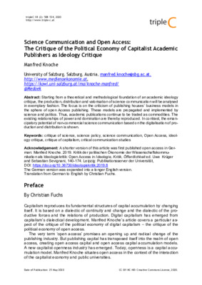 Science Communication and Open Access: The Critique of the Political Economy of Capitalist Academic Publishers as Ideology Critique | Manfred Knoche | tripleC 18 (2): 508-534, 2020