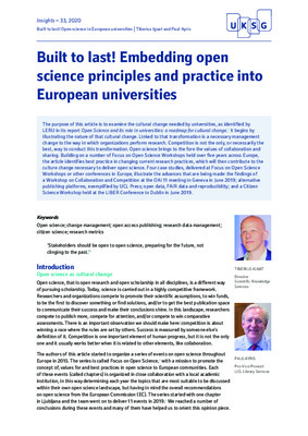 Built to Last! Embedding Open Science Principles and Practice into European Universities |  Tiberius Ignat and Paul Ayris |  Insights– 33, 2020