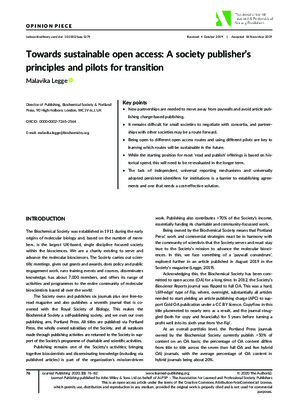 Towards Sustainable Open Access: A Society Publisher's Principles and Pilots for Transition | Malavika Legge | Learned Publishing 2020; 33: 76–82