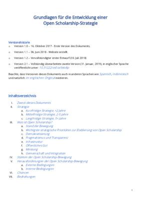 Grundlagen für die Entwicklung einer  Open Scholarship-Strategie | Tobias Steiner | SocArXiv Papers, February 17, 2019, 1-55.
