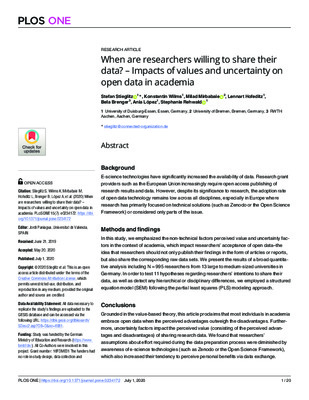 When Are Researchers Willing to Share Their Data? – Impacts of Values and Uncertainty on Open Data in Academia | Stefan Stieglitz et al. |  PLoS ONE 15(7), July 1, 2020.