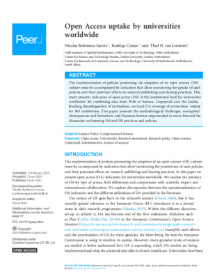 Open Access Uptake by Universities Worldwide | Nicolas Robinson-Garcia, Rodrigo Costas and Thed N. van Leeuwen | PeerJ, 8:e9410, 1-20. July 8, 2020.
