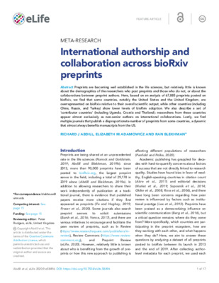 Meta-Research: International Authorship and Collaboration across bioRxiv Preprints |  Richard J. Abdill, Elizabeth M. Adamowicz and Ran Blekhman | eLife, 2020