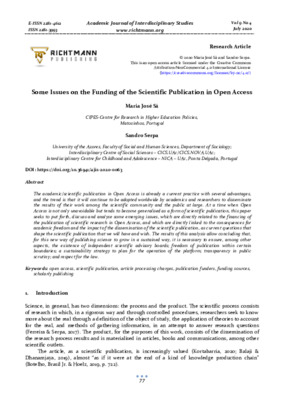 Some Issues on the Funding of the Scientific Publication in Open Access | Maria José Sá and Sandro Serpa |  Academic Journal of Interdisciplinary Studies, 9(4), 77