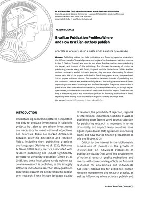 Brazilian Publication Profiles: Where and How Brazilian Authors Publish | Concepta M. McManus et al. | Anais da Academia Brasileira de Ciências,  (2020) 92(2), 1-22