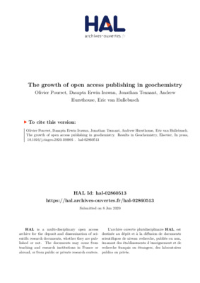 The Growth of Open Access Publishing in Geochemistry | Olivier Pourret et al. |  Results in Geochemistry,  8 June 2020