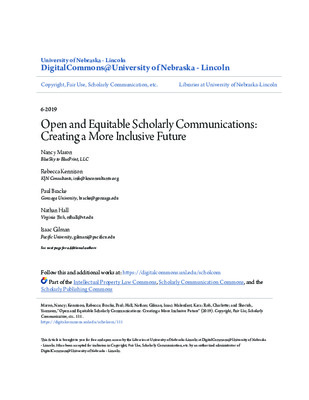 Open and Equitable Scholarly Communications: Creating a More Inclusive Future | Nancy Maron et al. |  Copyright, Fair Use, Scholarly Communication, etc., 111, June 2019