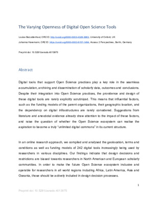 The Varying Openness of Digital Open Science Tools | Louise Bezuidenhout and Johanna Havemann | OpenAIRE Preprint, Zenodo, September 3, 2020