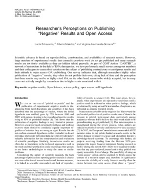 "Researcher's Perceptions on Publishing ""Negative"" Results and Open Access 