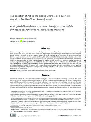 The Adoption of Article Processing Charges as a Business Model by Brazilian Open Access Journals | Andre Luiz Appel and Sarita Albagli | Transinformação, 31, Apr 4, 2019