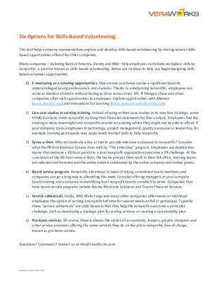Six Options for Skills-Based Volunteering