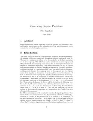 Generating Singular Partitions