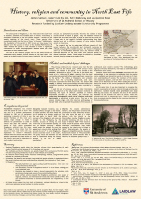 History, religion and community in North East Fife, Laidlaw Research Poster, JS