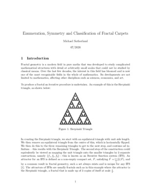 Enumeration, Symmetry and Classification of Fractal Carpets: Research Essay