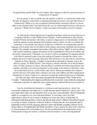 Laidlaw Research Proposal