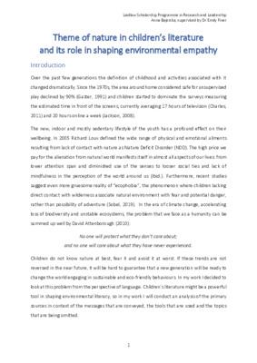 Theme of nature in children's literature (research essay)